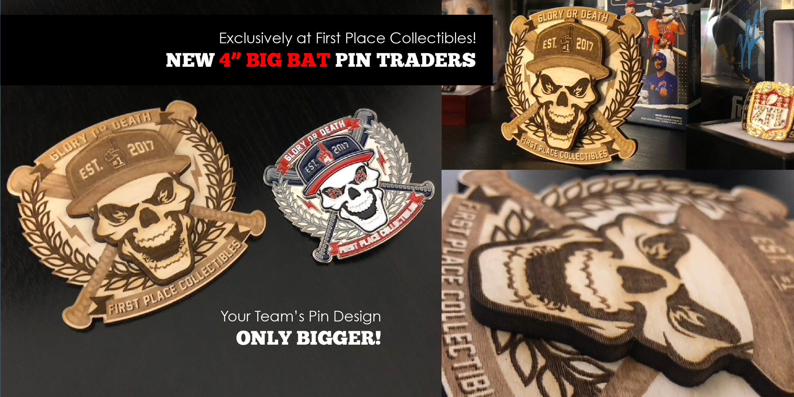 First Place Collectibles, Trading Pins, Team Pin, Baseball Pin, Pin Trading, Big Bat, Wood Pin, Maple, Custom, Collectibles, new, exclusive