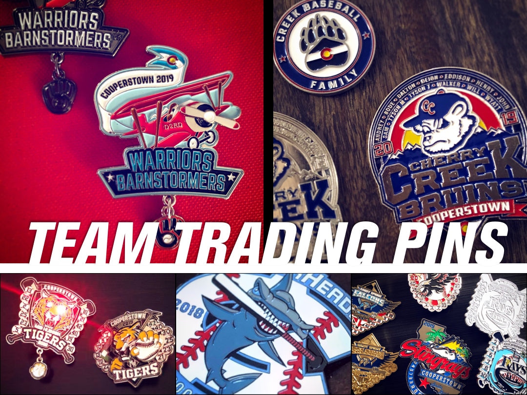 First Place Collectibles, Cooperstown, All Star Village, Dreams Park, Cooperstown Trading Pins, Pin Trading, 2 inch pin, price, cost, estimate, rare pin, Custom Pins, Baseball Travel Pins, Team Pins, Baseball Pins, Trading Pins, Tournament Pins, Pin Pricing