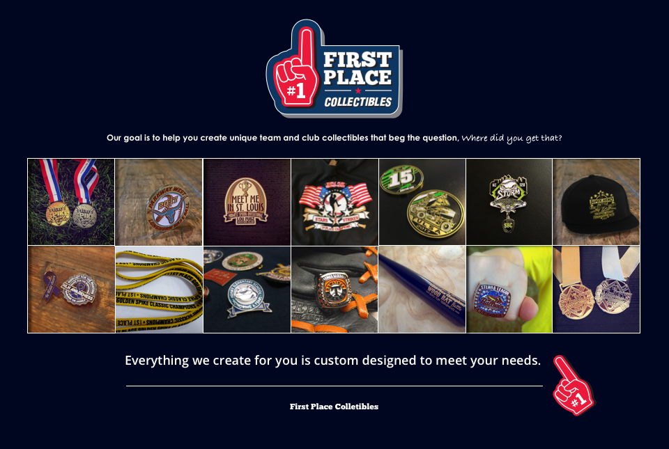 First Place Collectibles Custom Trophy Pins Medals Rings Apparel