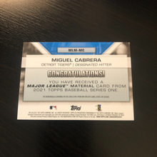 Topps 2021 Series 1, Miguel Cabrera RELIC CARD Major League Material, Game Used Memorabilia