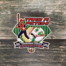"Take A Pitch! Limited-Edition. Cooperstown Trading Pins. 2020 Canceled. Because baseball trading pins are an essential part of the Cooperstown experience, we are remembering the season that never was with a commemorative set of CORONAVIRUS CANCELED COOPERSTOWN pins. These oversized 2.5"" PINS feature a BOBBLE and GLITTER, as well as a reminder that we must make adjustments in order to succeed, in life just like in baseball."