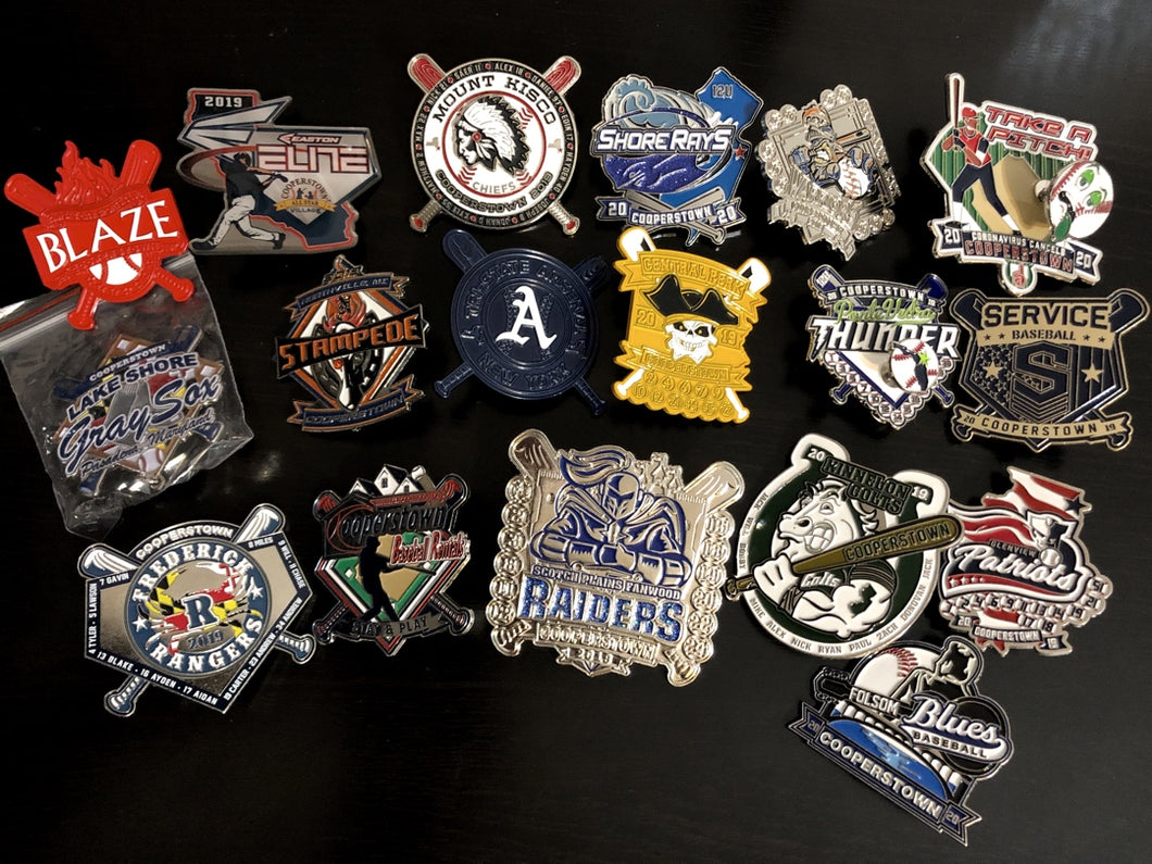 Cooperstown, Team Trading Pins, Pin Trading, Trade Bait, Vintage Baseball Pins, Baseball, Cooperstown, All Star Village, Dreams Park, First Place Collectibles, Cheap Pins, Pin Price, Pin Kit, Starter Set, Break Packs