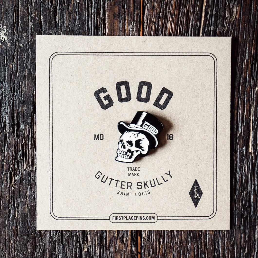 Skull Pin, Art Pin, lapel pin, pin collector, first place pins, jake houvenagle, gutter skulls, good, good pin, st. louis, art, local artist, original art pin