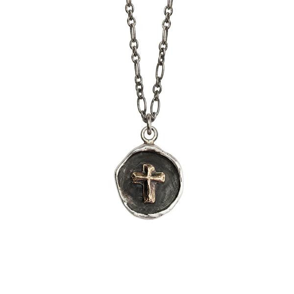 Cross on Silver Talisman Necklace 14K Gold