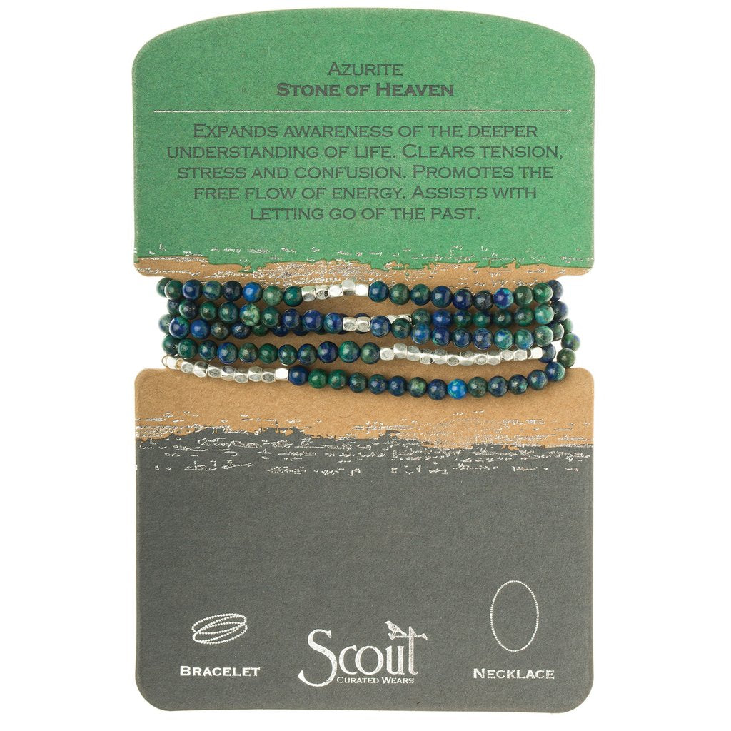 Stone Wrap Bracelet/Necklace: Azurite