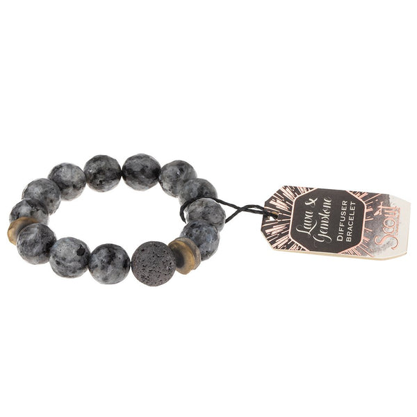 Lava and Gemstone Diffuser Bracelet: Black Labradorite