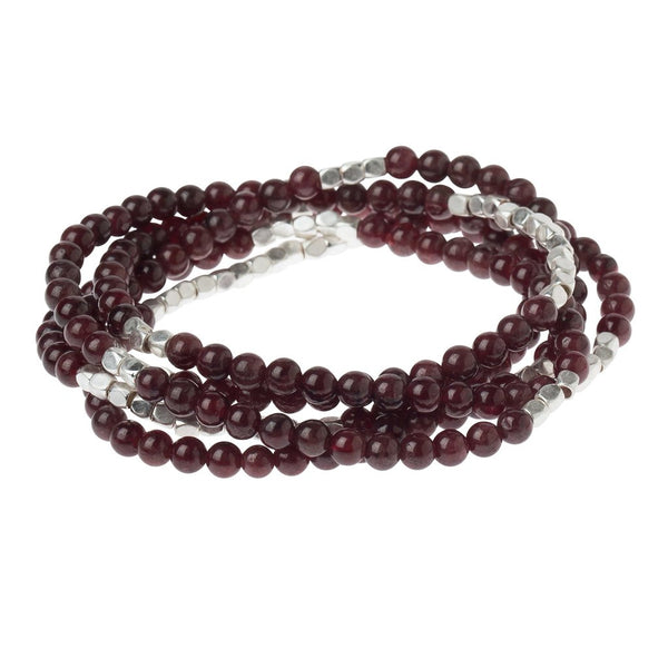 Stone Wrap Bracelet/Necklace: Garnet