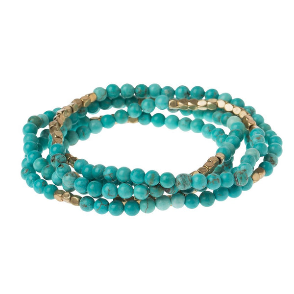 Stone Wrap Bracelet/ Necklace: Turquoise & Gold