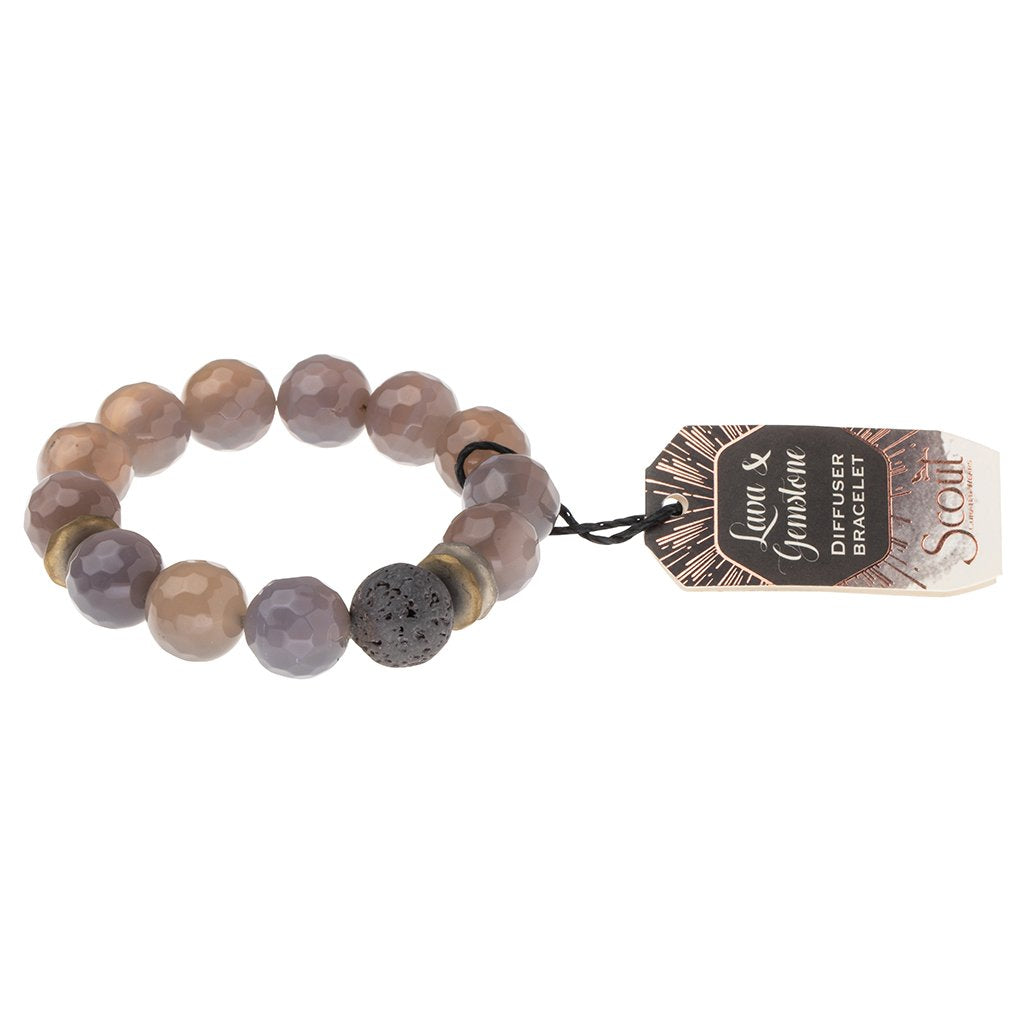 Lava and Gemstone Diffuser Bracelet: Grey Agate