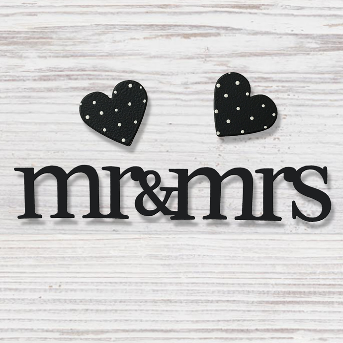 Mr & Mrs w/ Hearts