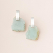 Stone Slice Earrings - Amazonite - Silver/Gold