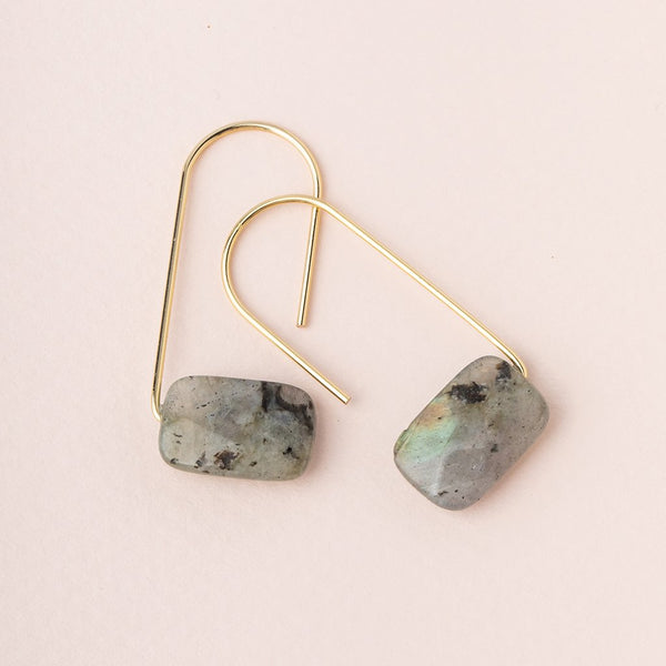 Floating Stone Earring: Labradorite/Gold