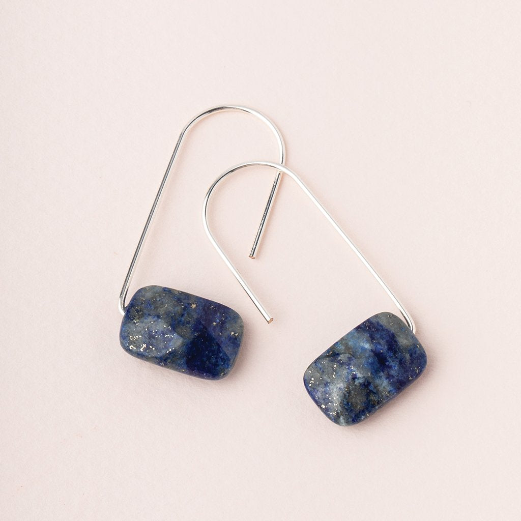 Floating Stone Earring: Lapis/Silver