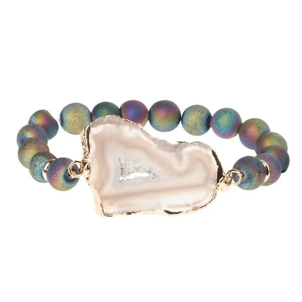 Geode Stack Bracelet: Oil Slick/Mist/Gold