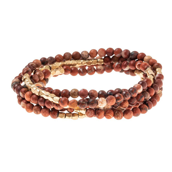 Stone Wrap Bracelet/Necklace: Red Jasper