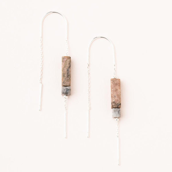 Rectangle Stone Earring: Rhodonite/Black/Silver