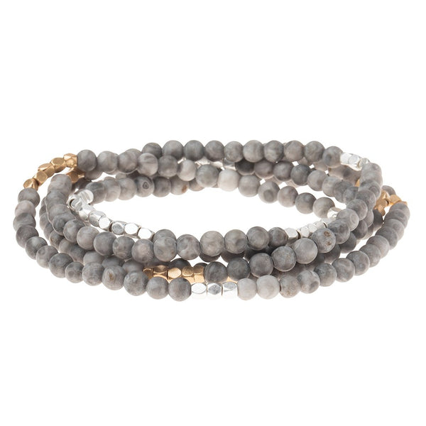 Stone Wrap Bracelet/Necklace: Riverstone