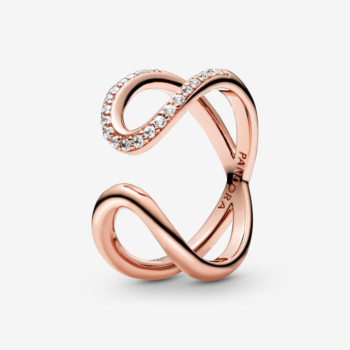 Wrapped Open Infinity Ring in Pandora Rose