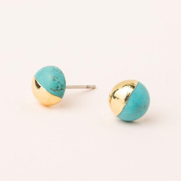 Dipped Stone Stud: Turquoise/Gold