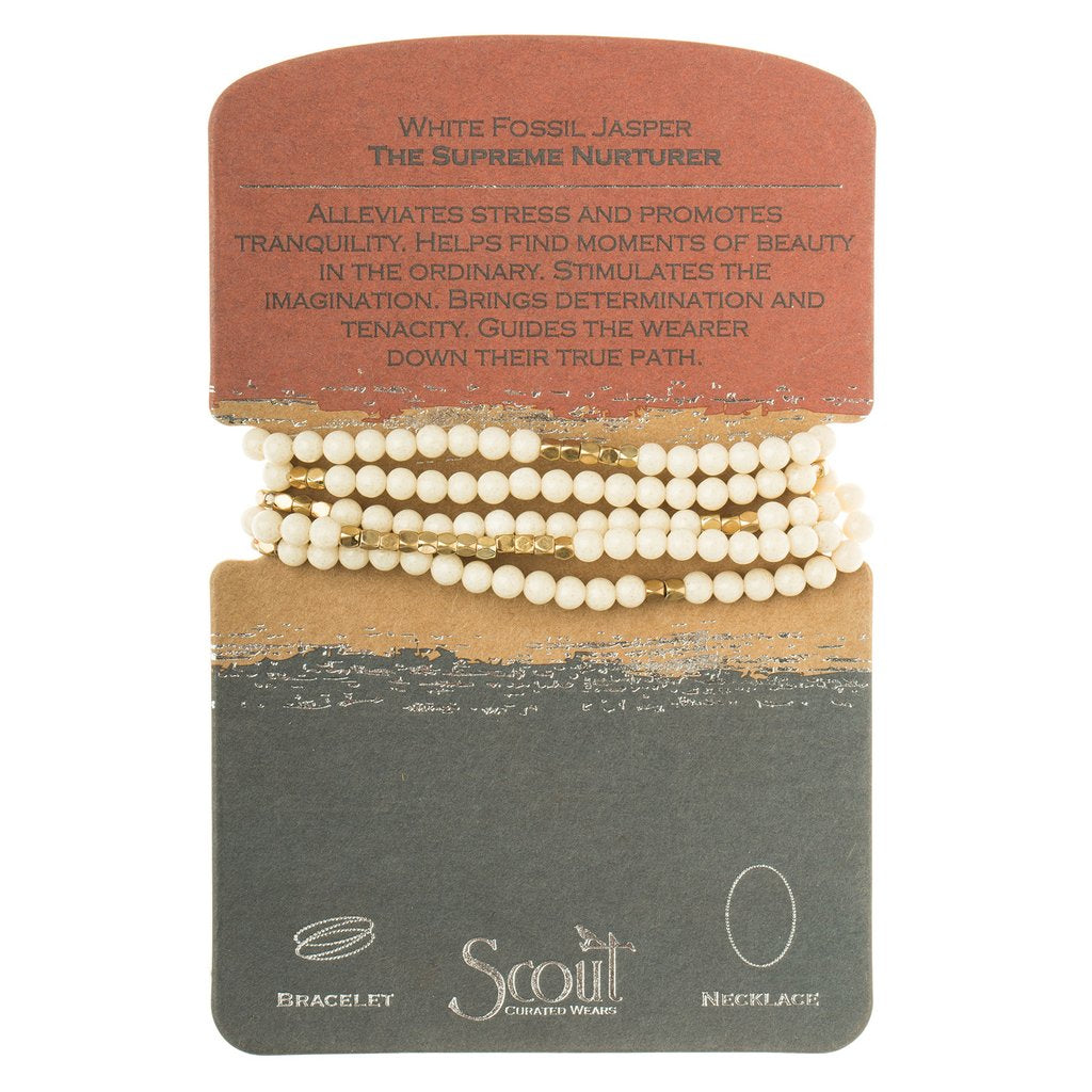 Stone Wrap Bracelet/Necklace: White Fossil Jasper