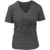 Drink and I Sew Things Ladies V-Neck T-Shirt