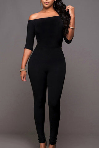 BLack One-piece Skinny Jumpsuits