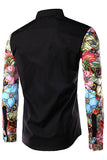 Long Sleeves Floral Print Black Cotton Men's shirt