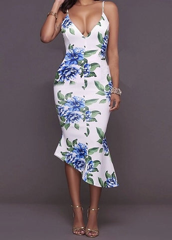 Charming V Neck Sleeveless Printed Asymmetrical Healthy Fabric Mid Calf Dress