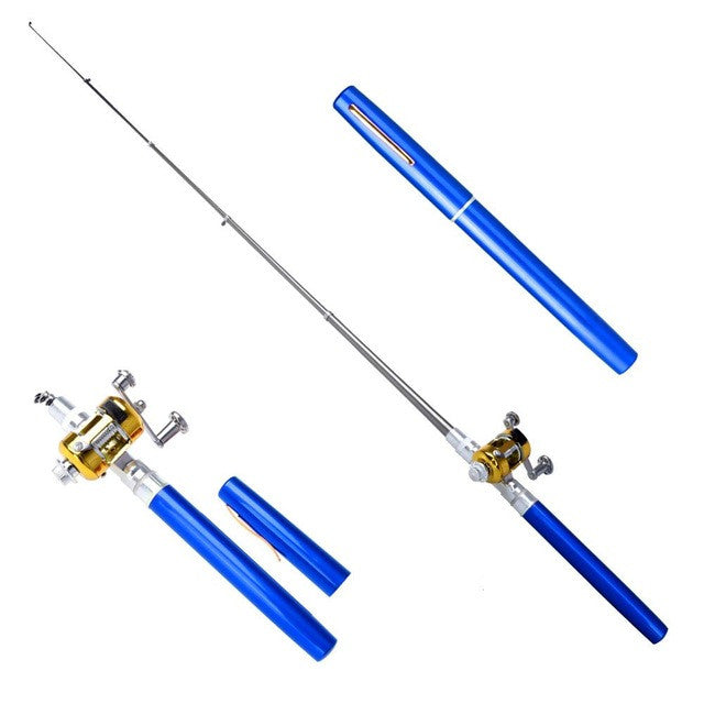 BassSmasher Portable Mini Fishing Rod With Reel (6 Colors Available)