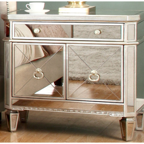 dand 1 drawer silver glamorous mirrored nightstand