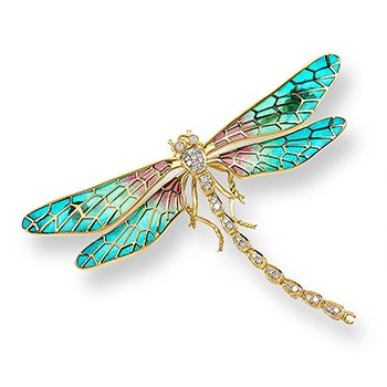 18kt Gold Dragonfly Turquoise Brooch
