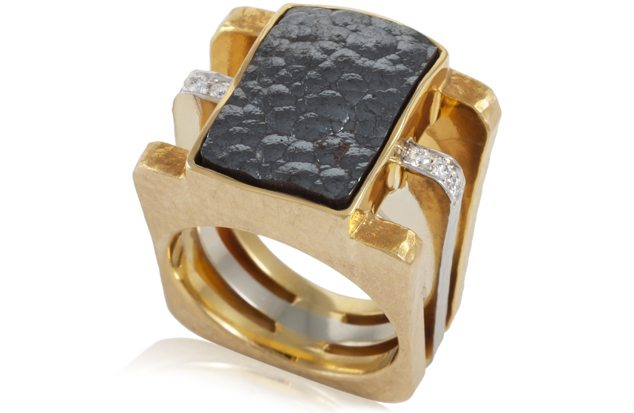 18KT Two Toned Gold, Hematite And Diamond Ring