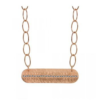 Moly 14k Bar Necklace With Paved Center Strip