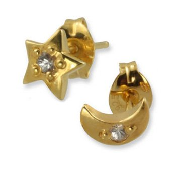 Moon and Star Ear Studs