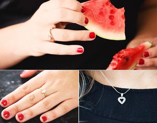 Wearing Alison Moore's Entwined Diamond Ring;Her marquise-cut diamond ring from her father;Heart pendant from her Granny.