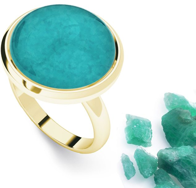 Amazonite Yellow Gold-Plate Cabochon Ring
