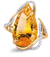 Mia Citrine And Diamond Ring