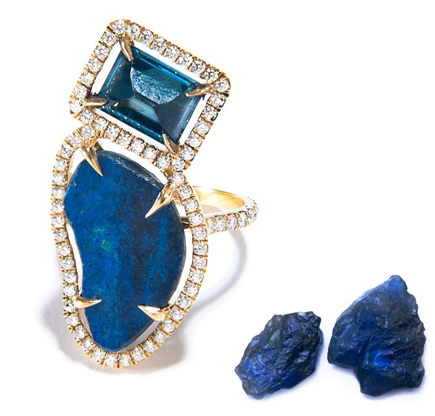 London Blue Topaz And Azurite Ring
