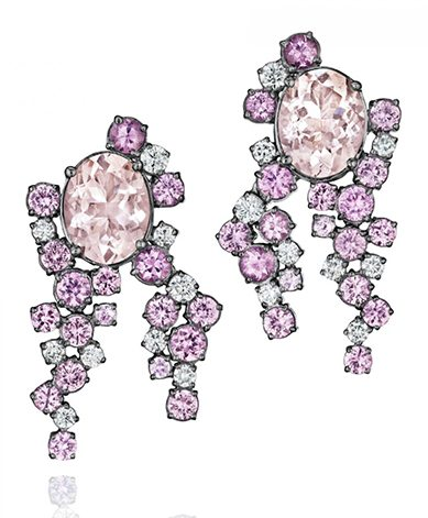 Melting Ice Large Earrings With Morganite And Pink Sapphires