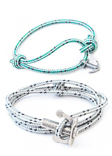 Grey Dash Union & Green Dash Severn Rope Silver Bracelets