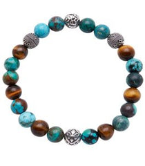 Beaded Wristband With Bali Turquoise, Brown Tiger Eye And Silver