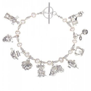 Pearl & Silver with 10 Silver Magical Charms