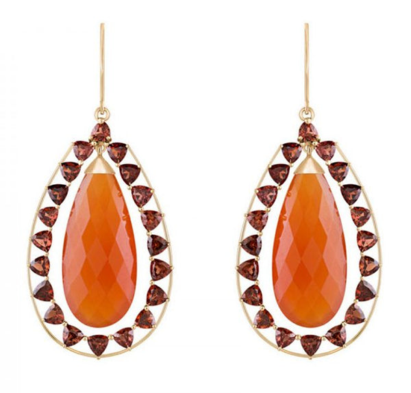Briolette Carnelian Earrings With Garnet Accent