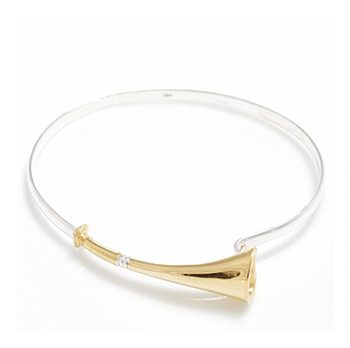Sterling Silver And 18ct Gold Plated Hunting Horn