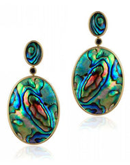 Mother Of Pearl Oval Abalone Shell Earrings