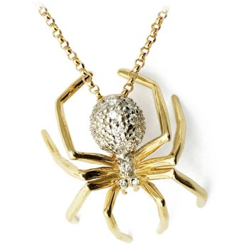 Large Spider Necklace Yellow Gold White Rhodium