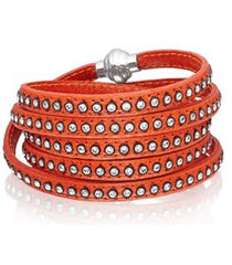 90cm Arezzo Orange Leather Bracelet With Zirconia