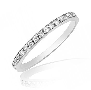 Solid Gold Midi Ring with Diamond Pave