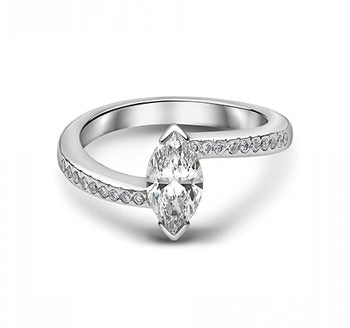 Marquise Diamond Dress Ring With Offset Diamond Shoulders