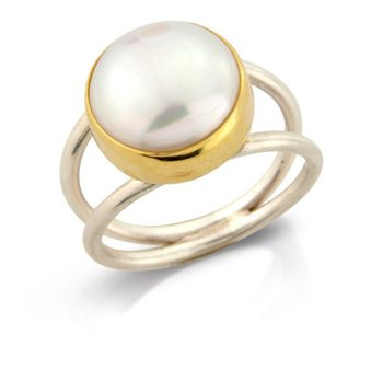 Pearl & 18ct Gold Ring On Split Silver Band